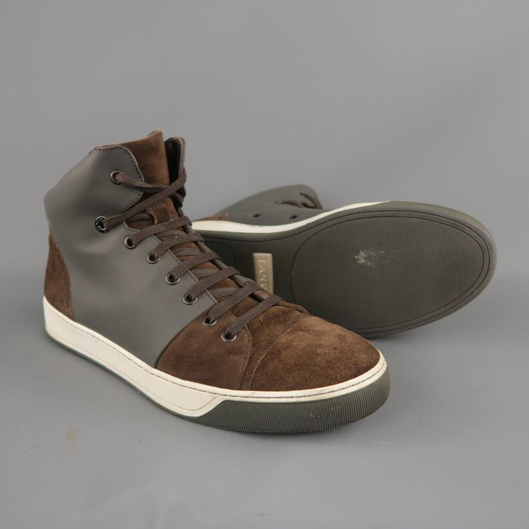 Gray Men's LANVIN Size 8 Brown Suede & Grey Rubber High Top Sneakers For Sale