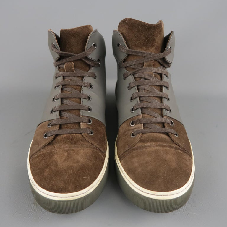 Men's LANVIN Size 8 Brown Suede & Grey Rubber High Top Sneakers In Good Condition For Sale In San Francisco, CA