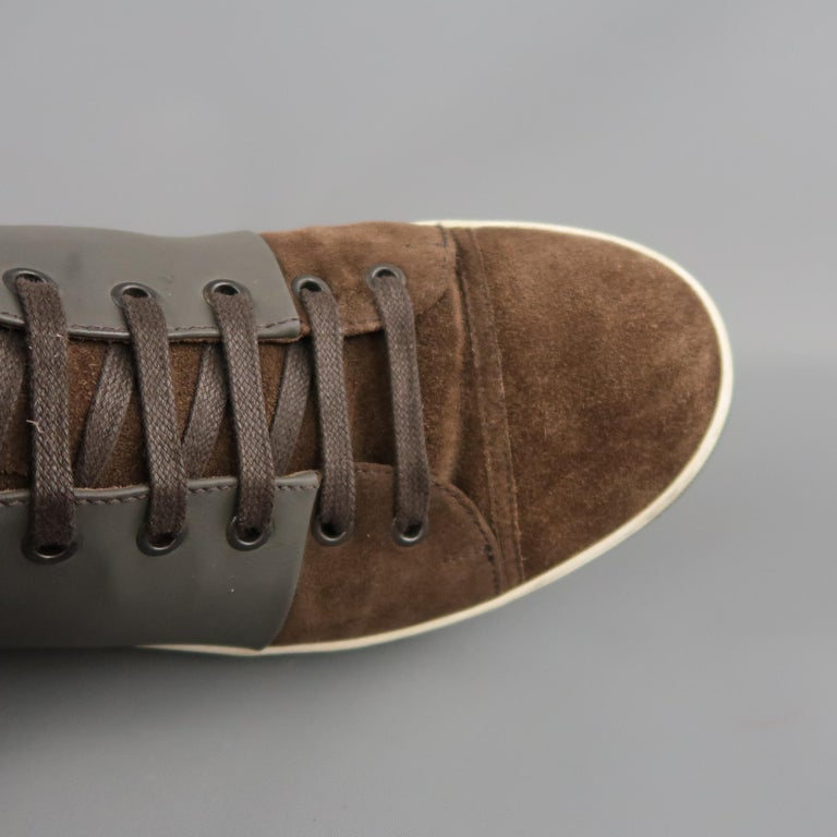 Men's LANVIN Size 8 Brown Suede & Grey Rubber High Top Sneakers For Sale 1