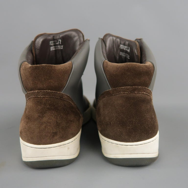 Men's LANVIN Size 8 Brown Suede & Grey Rubber High Top Sneakers For Sale 3
