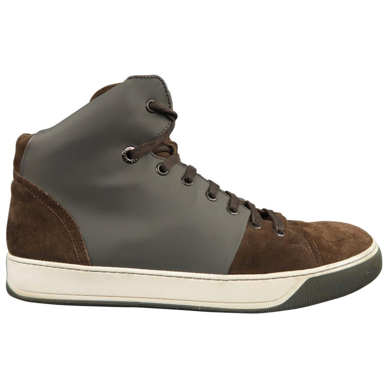 Men's LANVIN Size 8 Brown Suede & Grey Rubber High Top Sneakers For Sale
