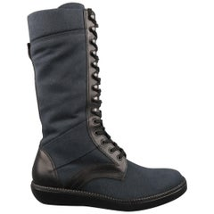 Men's LANVIN Size 9 Navy & Black Canvas & Leather Calf High Boots