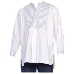 Men's Late Victorian French Pinstripe Bib Front Shirt