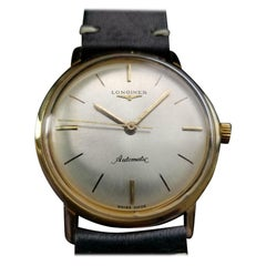 Men's Longines 18 Karat Gold Automatic Dress Watch, Swiss Vintage MS123BLK