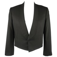 Men's LOUIS VUITTON 44 Black Wool Shawl Collar Cropped Jacket