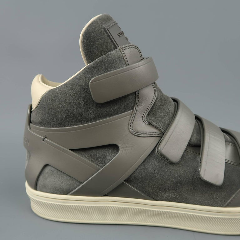 83169abc2ee4 Men s LOUIS VUITTON Sneaker Size 11 Gray Leather and Suede Velcro ...