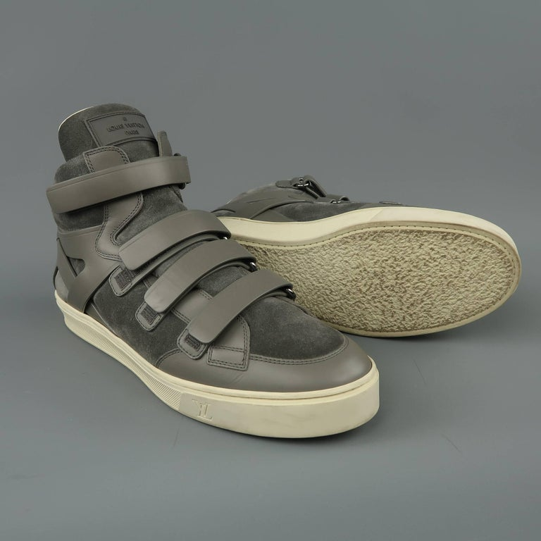 067266498ebd Men s LOUIS VUITTON Sneaker Size 11 Gray Leather   Suede Velcro High Top  Boxing For Sale