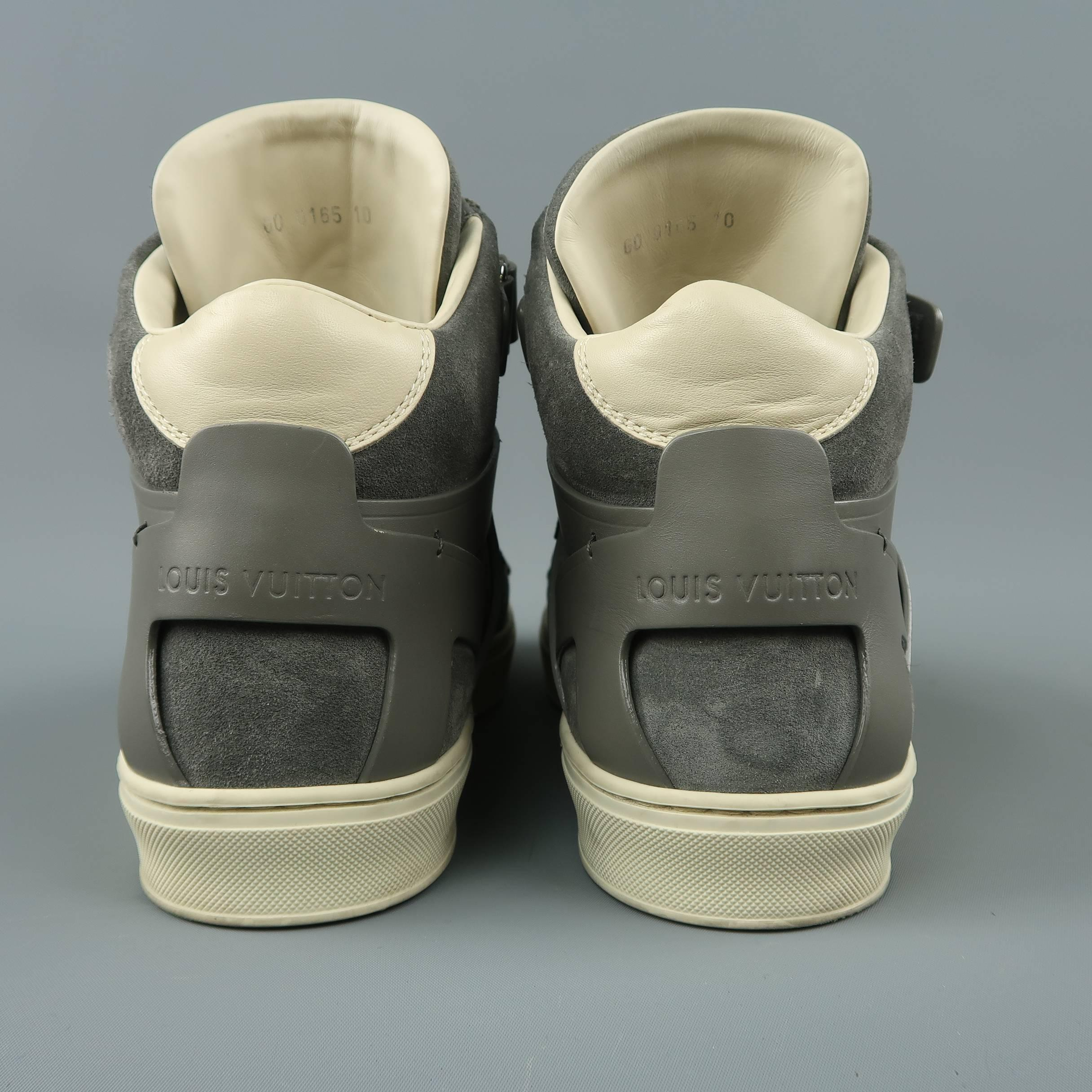 0066fd495f1d Men s LOUIS VUITTON Sneaker Size 11 Gray Leather and Suede Velcro High Top  Boxing at 1stdibs