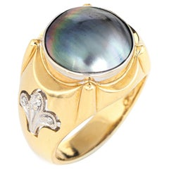 Men's Mabe Pearl Diamond Ring Fleur de Lis Vintage Fine Jewelry Estate