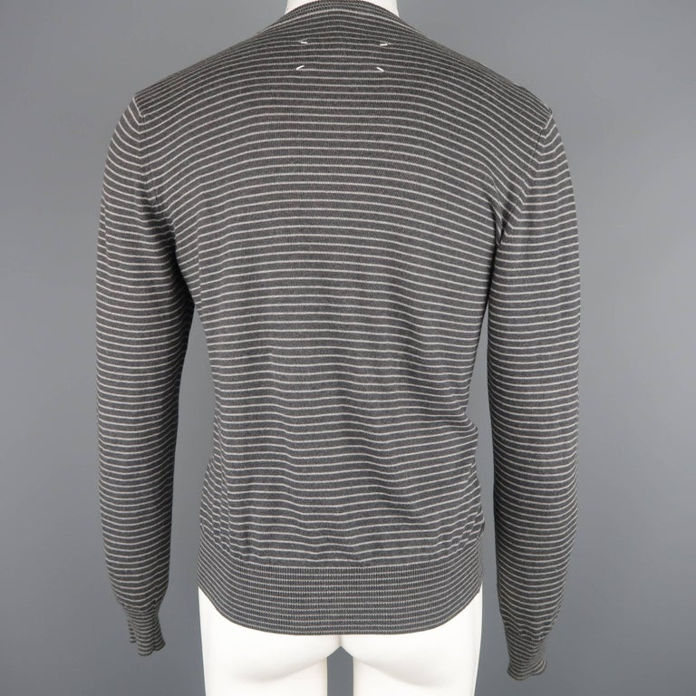Men's MAISON MARTIN MARGIELA Size M Charcoal Stripe Cotton Knit Cardigan In Fair Condition For Sale In San Francisco, CA