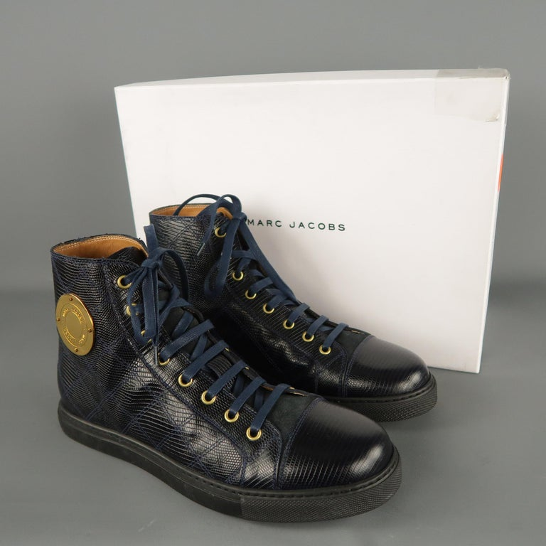 Men's MARC JACOBS Size 7 Navy Embossed Leather High Top Sneakers For Sale 7