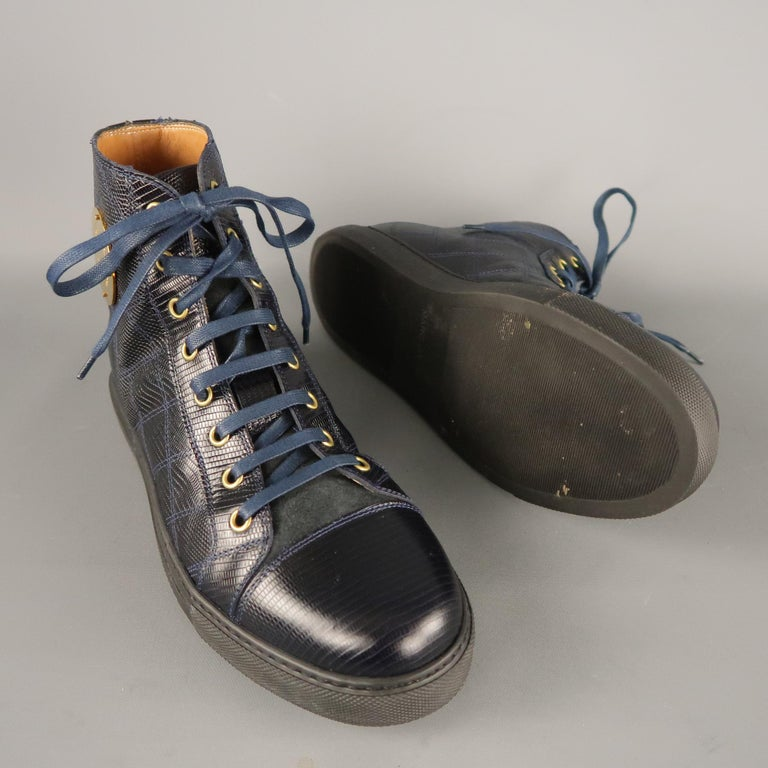 Black Men's MARC JACOBS Size 7 Navy Embossed Leather High Top Sneakers For Sale