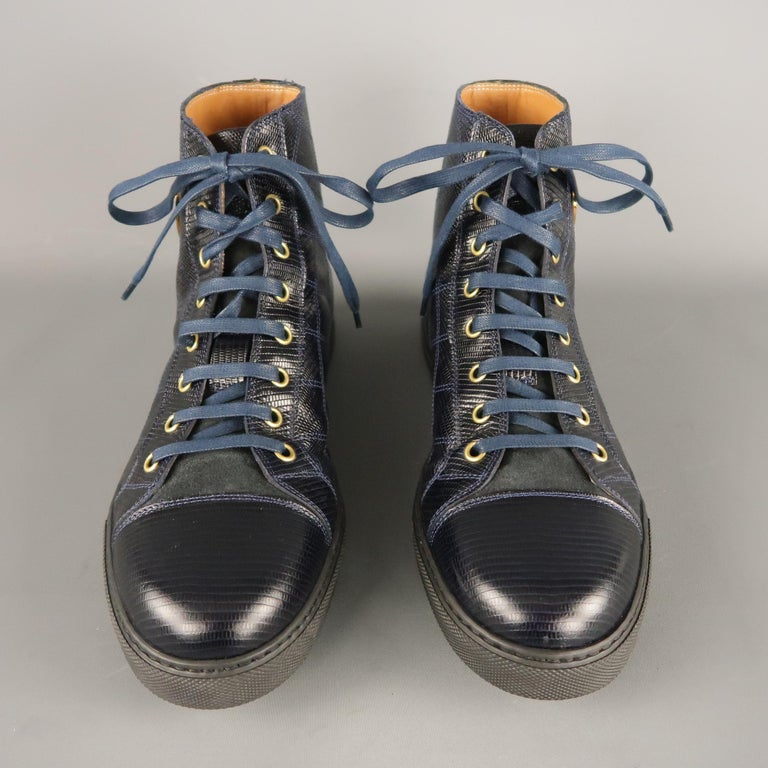 Men's MARC JACOBS Size 7 Navy Embossed Leather High Top Sneakers In Excellent Condition For Sale In San Francisco, CA
