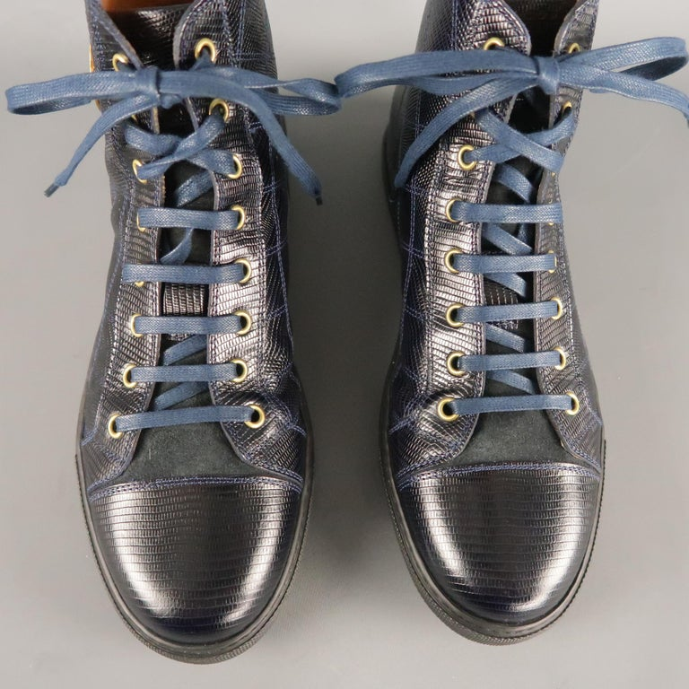 Men's MARC JACOBS Size 7 Navy Embossed Leather High Top Sneakers For Sale 1