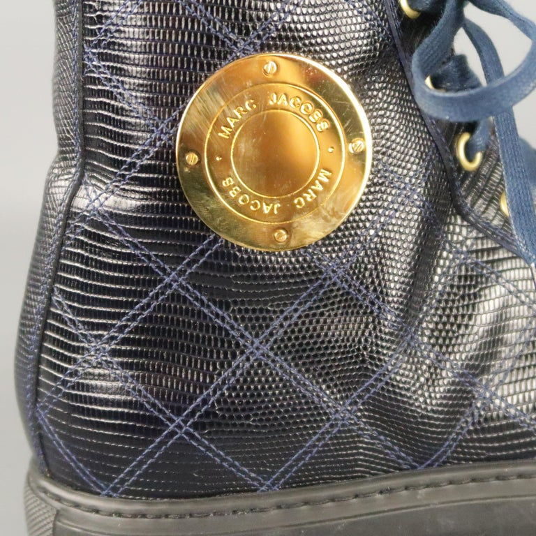 Men's MARC JACOBS Size 7 Navy Embossed Leather High Top Sneakers For Sale 3