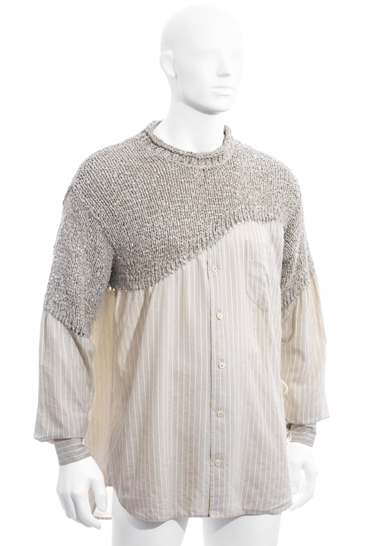 Men's Matsuda grey striped knitted cotton shirt sweater, ss 1995 In Good Condition For Sale In London, GB