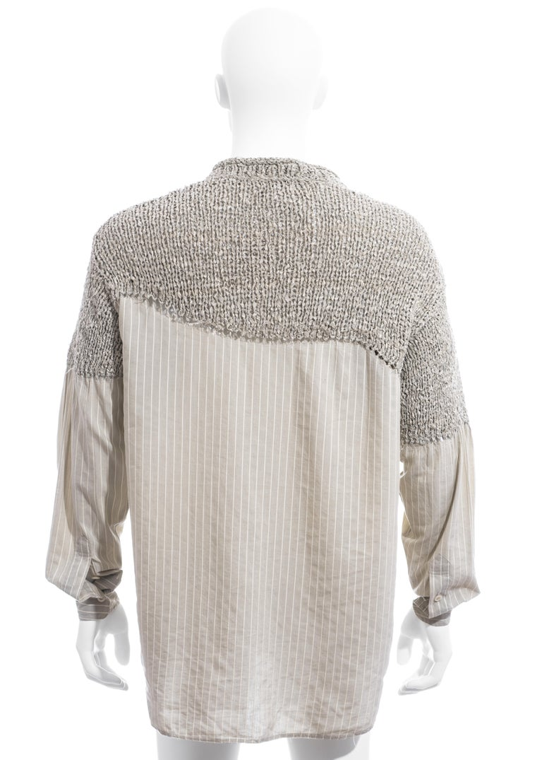 Men's Matsuda grey striped knitted cotton shirt sweater, ss 1995 For Sale 2