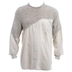 Men's Matsuda grey striped knitted cotton shirt sweater, ss 1995