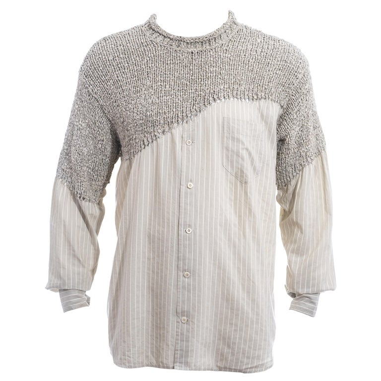 Men's Matsuda grey striped knitted cotton shirt sweater, ss 1995 For Sale
