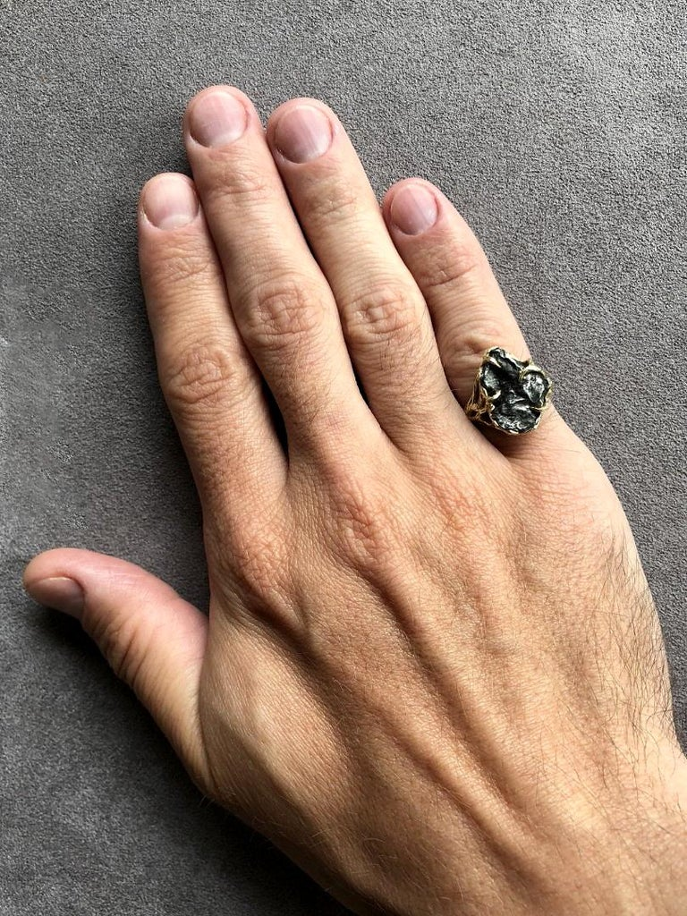 Art Nouveau Meteorite Ring 14K Yellow Gold Iron Gemstone Mens Unisex Jewelry Engagement new For Sale