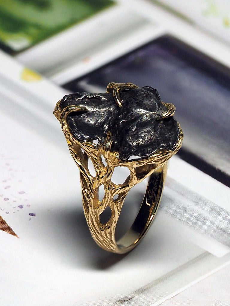 Meteorite Ring 14K Yellow Gold Iron Gemstone Mens Unisex Jewelry Engagement new In New Condition For Sale In Berlin, DE