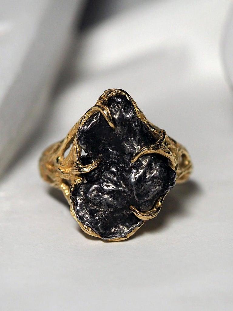 Meteorite Ring 14K Yellow Gold Iron Gemstone Mens Unisex Jewelry Engagement new For Sale 1