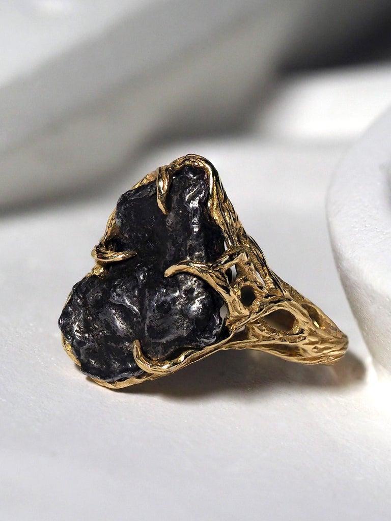 Meteorite Ring 14K Yellow Gold Iron Gemstone Mens Unisex Jewelry Engagement new For Sale 3