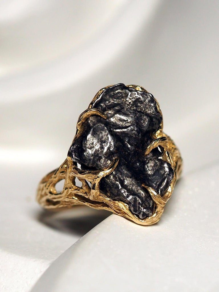 Meteorite Ring 14K Yellow Gold Iron Gemstone Mens Unisex Jewelry Engagement new For Sale 4
