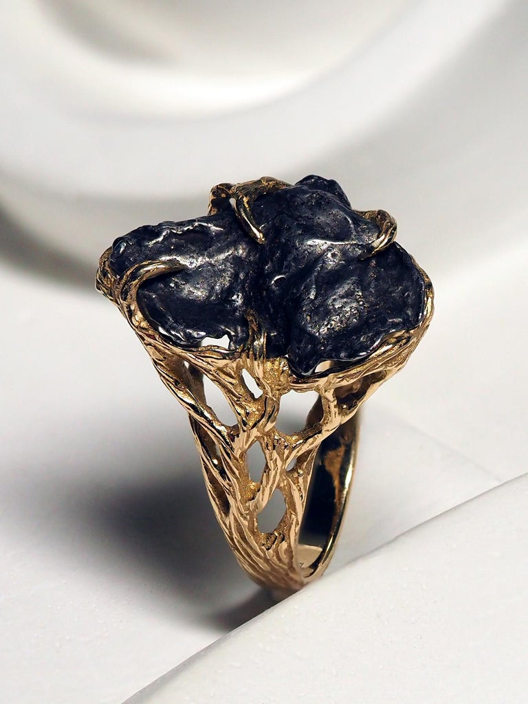 Meteorite Ring 14K Yellow Gold Iron Gemstone Mens Unisex Jewelry Engagement new For Sale 5