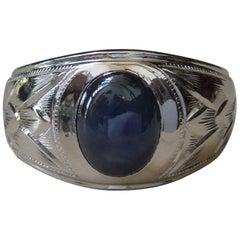 Men's Midcentury Bezel 2 Carat Sapphire Ring