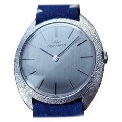 Men's Movado 18 Karat White Gold Hand-Wind Dress Watch Swiss Vintage MA144BLU