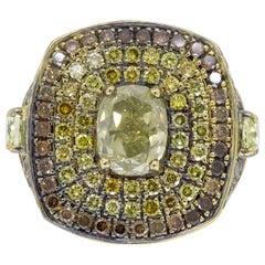 Men's Multi-Colored Diamond Ring in 18 Karat Gold