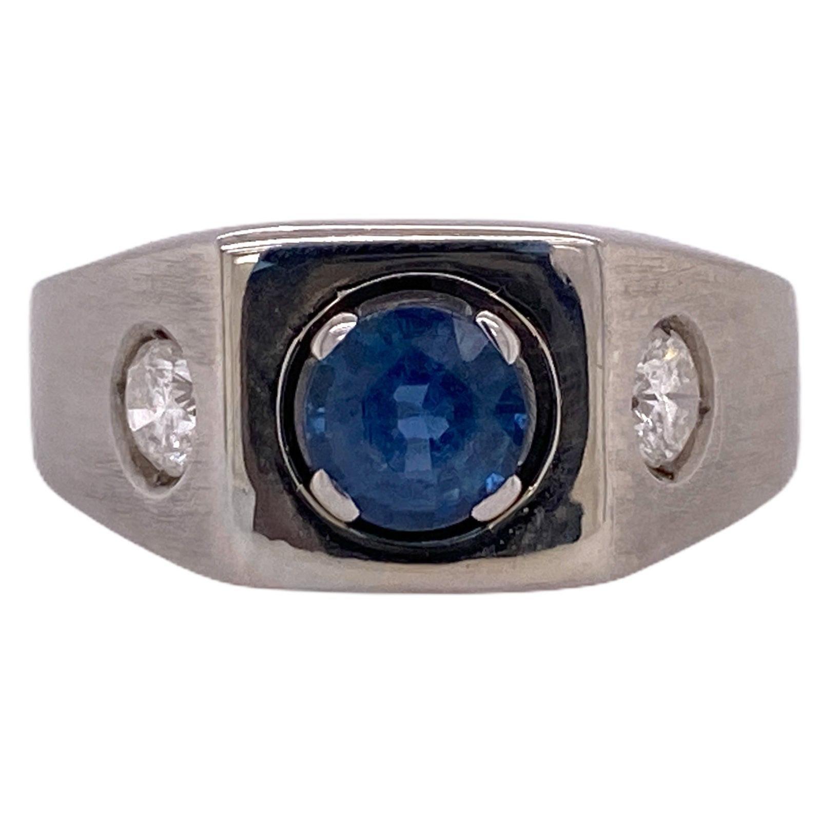 Men's Natural Blue Sapphire Diamond 14 Karat White Gold 3-Stone Ring AGL Certifi