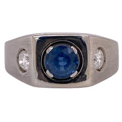 Men's Natural Blue Sapphire Diamond 14 Karat White Gold 3-Stone Ring AGL Certifi