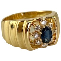 Men's Natural Oval Sapphire .55 Carat Diamond .27 Carat Yellow Gold 14 Karat