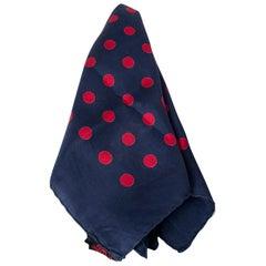 "Men's Navy and Red Polka Dot Italian Silk Pocket Square Scarf - 17"", 1960s"