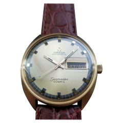 Men's Omega 18 Karat Gold Vintage Seamaster Cosmic Automatic Day Date LV653BRN