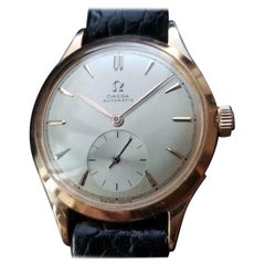 Men's Omega Bumper Automatic 18k Rose Gold, c.1940s Vintage Swiss Luxury LV30BLK