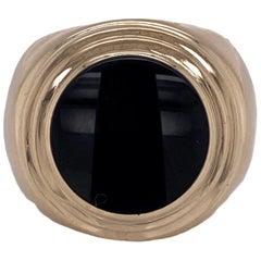 Men's Onyx 14 Karat Yellow Gold Pinky Ring Gents Ring