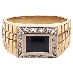 Men's Onyx and Diamond Ring in 14 Karat Yellow Gold