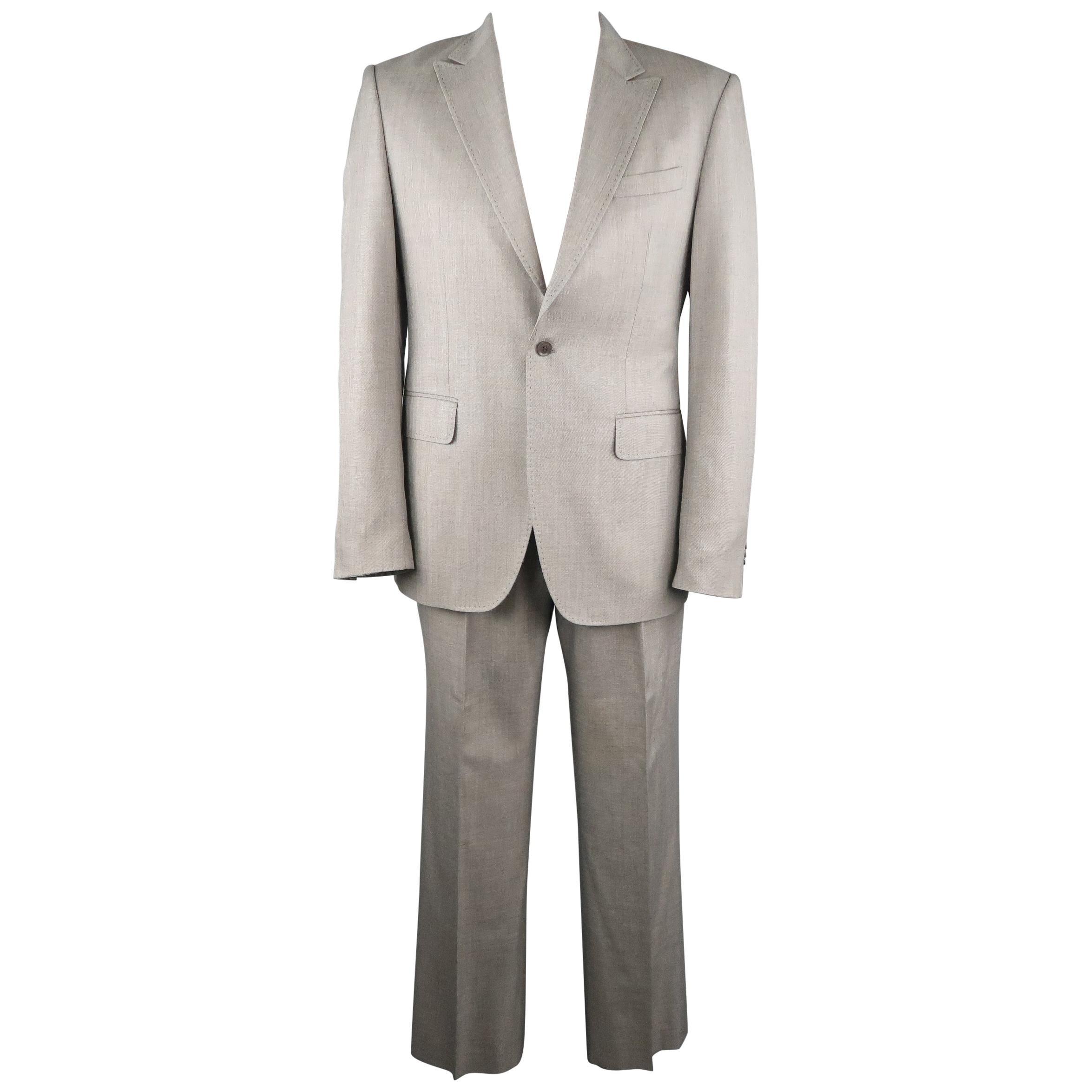 Men's PACO RABANNE 44 Silver Grey Solid Wool Blend Top Stitch Peak Lapel Suit