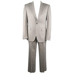 Men's PACO RABANNE 44 Silver Grey Solid Wool Blend Top Stitch Peak Lapel Suit