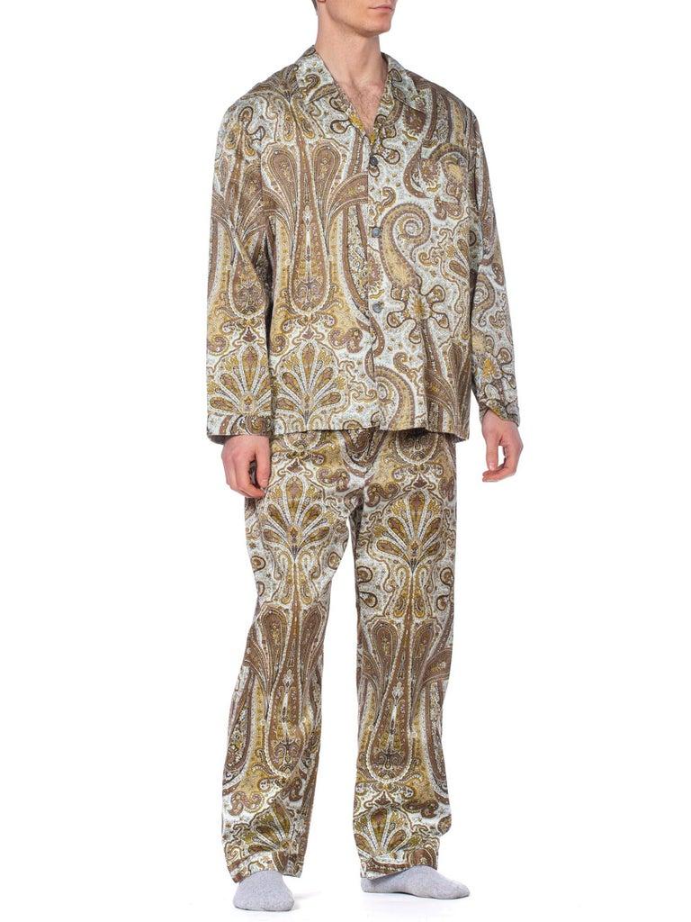 Brown 1970S Paisley Cotton Backed Rayon Satin Pajamas Set For Sale