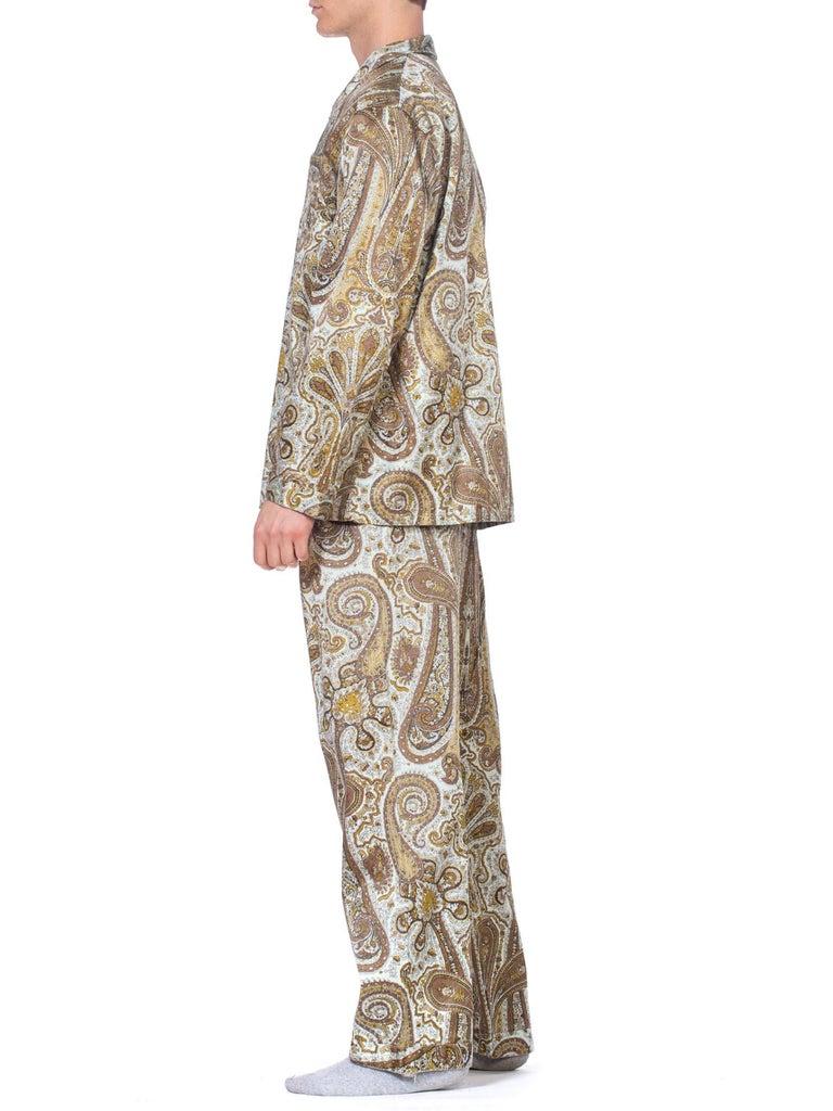 Men's 1970S Paisley Cotton Backed Rayon Satin Pajamas Set For Sale