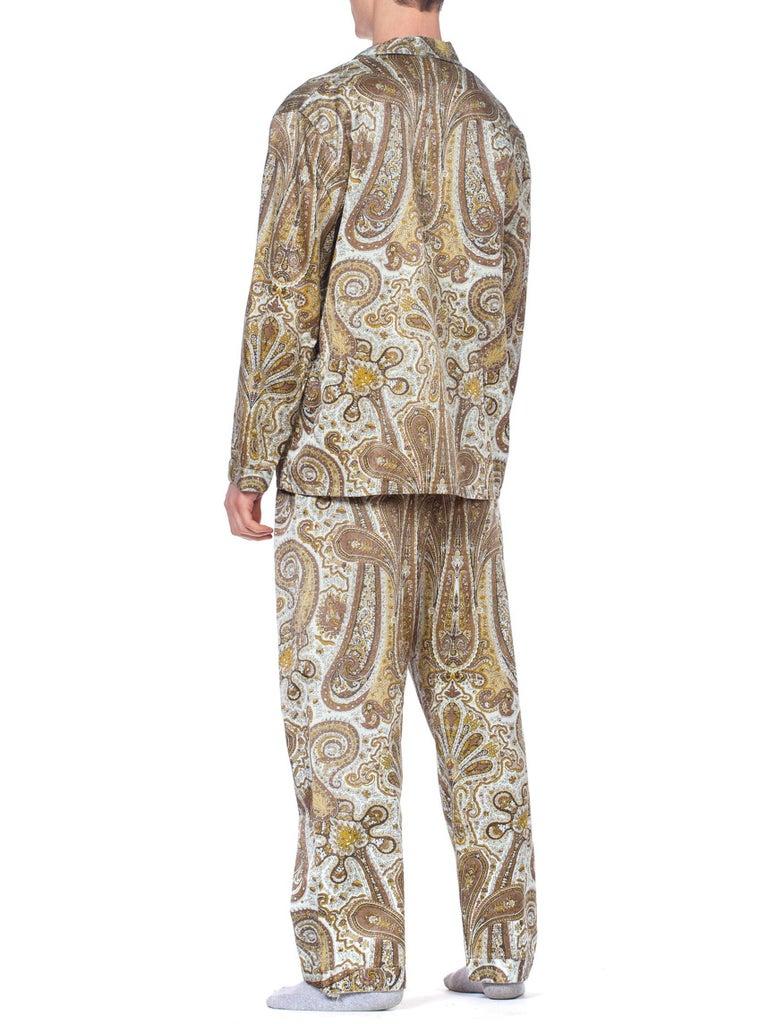 1970S Paisley Cotton Backed Rayon Satin Pajamas Set For Sale 1