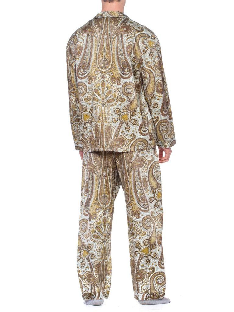 1970S Paisley Cotton Backed Rayon Satin Pajamas Set For Sale 4