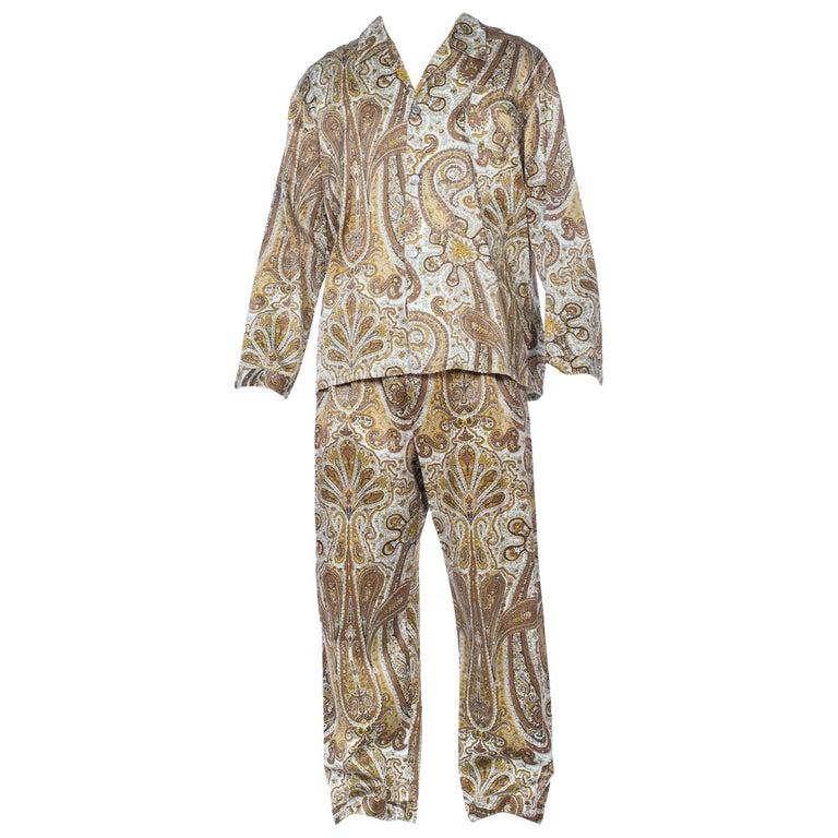 1970S Paisley Cotton Backed Rayon Satin Pajamas Set For Sale