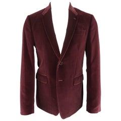 Men's PAUL SMITH 40 Long Burgundy Velvet Notch Lapel Sport Coat Jacket