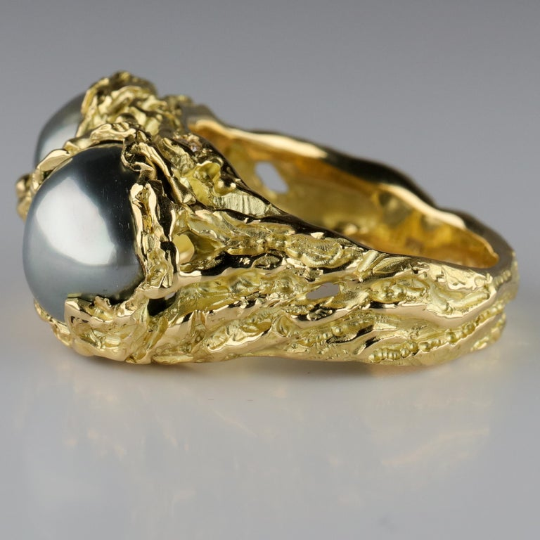 Men's Pearl Ring in Gold with Diamonds For Sale 5