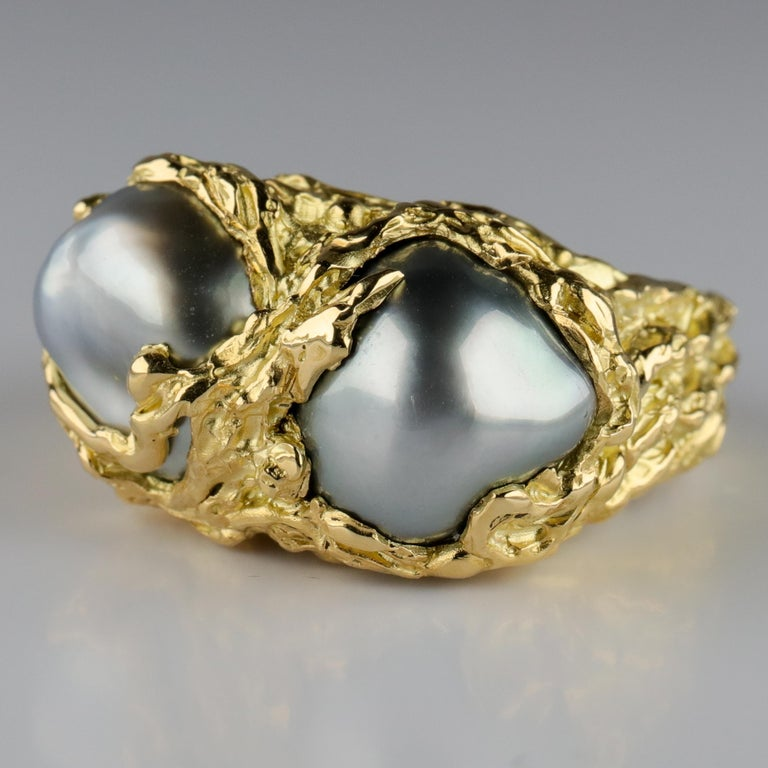 Men's Pearl Ring in Gold with Diamonds For Sale 6